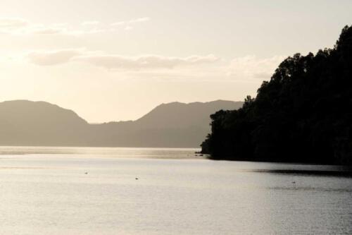 Neuseeland-See-Abend