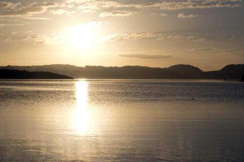 Neuseeland-See-Sonnenuntergang